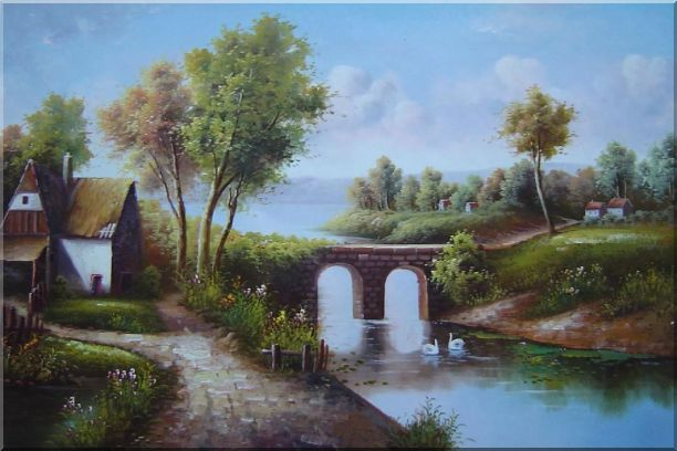 Small River Bridge in Front of Cottage Oil Painting Landscape Classic 24 x 36 Inches