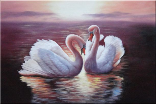 Two White Swans Enjoying Times On Golden Lake Oil Painting Animal Naturalism 24 x 36 Inches