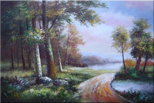 Along a Muddy Path Oil Painting Landscape River Classic 24 x 36 Inches