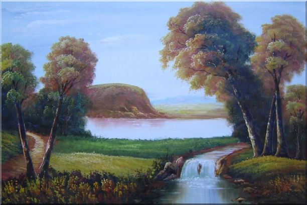 Small Waterfall in Field Oil Painting Landscape River Classic 24 x 36 Inches