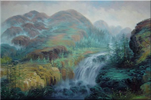 Waterfall Rushing Down Green Covered Mountain Oil Painting Landscape Classic 24 x 36 Inches