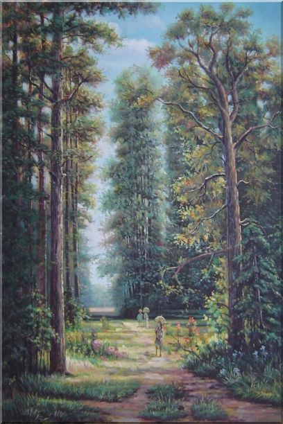 Strolling in Garden with Old and Tall Trees Oil Painting Landscape River Classic 36 x 24 Inches