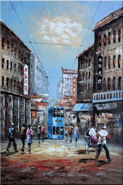 Street of Shanghai in early Twentyth Century Oil Painting Cityscape China Impressionism 36 x 24 Inches