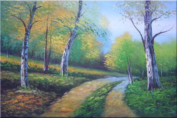 Two Turbid Flows Passing Forest in Early Summer Oil Painting Landscape Tree Naturalism 24 x 36 Inches