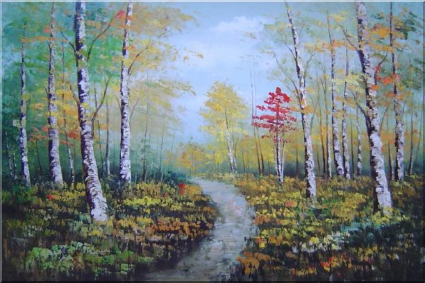 Turbid Current Rushing through Forest with Falling foliage Oil Painting Landscape Tree Autumn Naturalism 24 x 36 Inches
