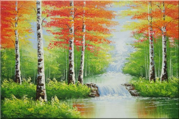 Double Waterfalls In Red Autumn Forest Oil Painting Landscape Tree Naturalism 24 x 36 Inches