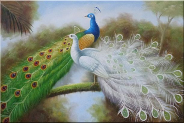 Green and White Peacocks On Branch Oil Painting Animal Naturalism 24 x 36 Inches
