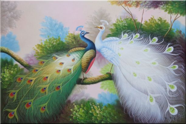 Resting Blue and White Peacocks Oil Painting Animal Naturalism 24 x 36 Inches