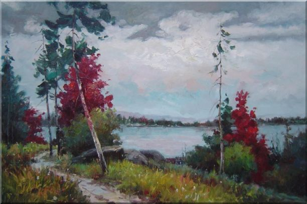 Silence Under Overcast Sky Oil Painting Landscape Tree Impressionism 24 x 36 Inches