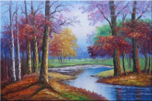 Small Pond Red Autumn Oil Painting Landscape Tree Naturalism 24 x 36 Inches