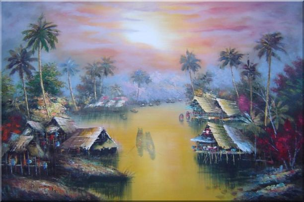 Hawaii Water Village Thatching Houses at Sunset Oil Painting Naturalism 24 x 36 Inches