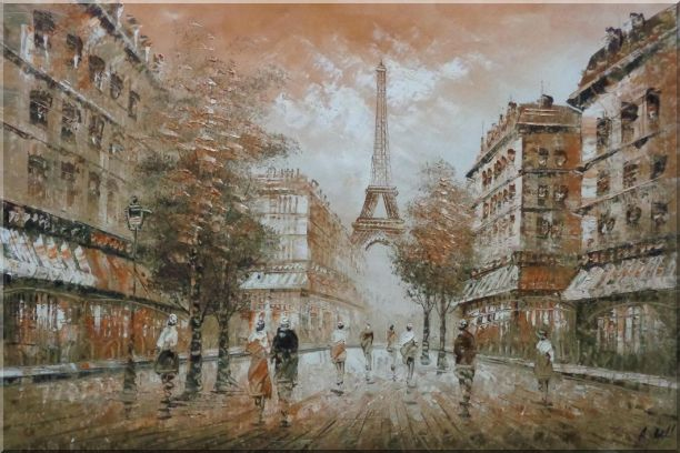 People, Eiffel Tower on the Dusk Oil Painting Cityscape France Impressionism 24 x 36 Inches