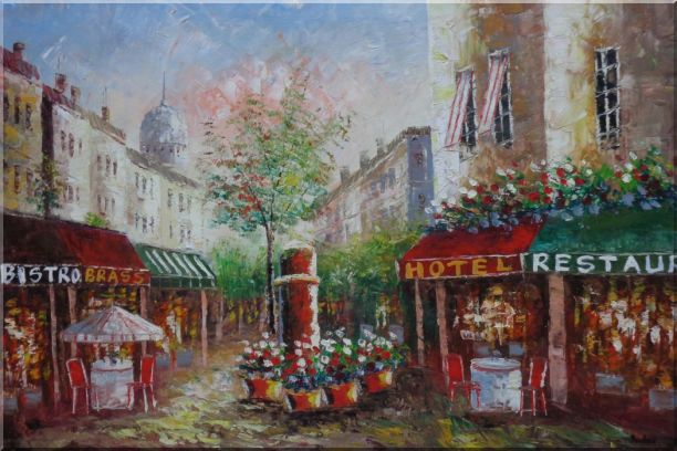 Colorful Cafe and Street Scene in Paris Oil Painting Cityscape France Impressionism 24 x 36 Inches