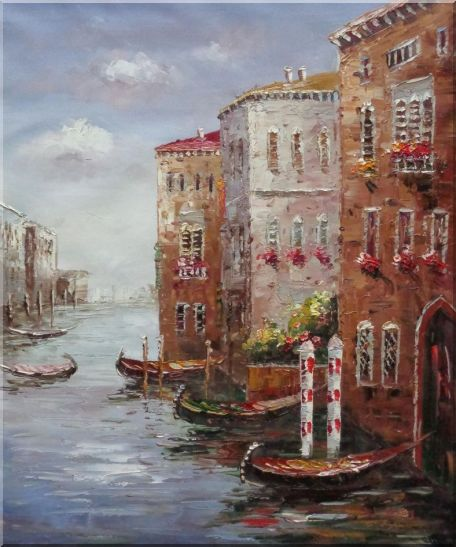 Boats Parking At Tranquil Street of Venice - 2 Canvas Set 2-canvas-set,venice,italy impressionism  24 x 40 inches