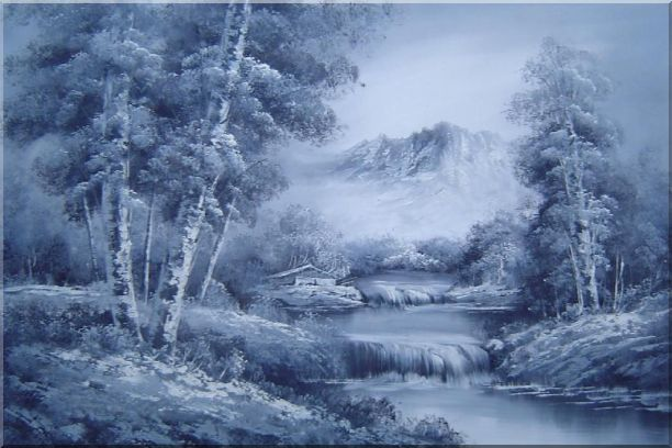 Cascade Under Snow Mountain in Black and White Oil Painting Landscape Waterfall Naturalism 24 x 36 Inches