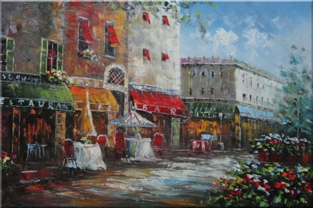 Bistro on Paris Street Oil Painting Cityscape France Impressionism 24 x 36 Inches