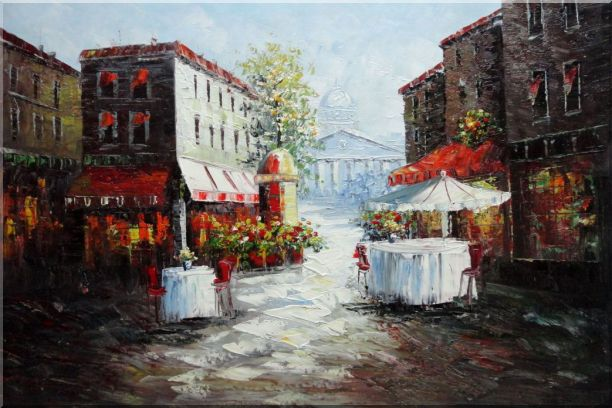 Outdoor Street Cafe on Paris Street Oil Painting Cityscape France Impressionism 24 x 36 Inches