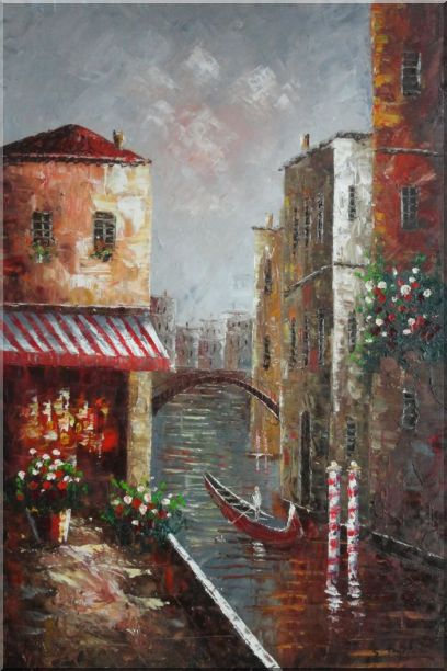 Venice River Italy Street Cafe Canal Boat Oil Painting Impressionism 36 x 24 Inches