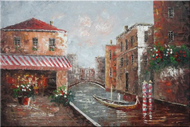 Cafe At Venice Canal with Bridge and Gondolas Oil Painting Impressionism 24 x 36 Inches