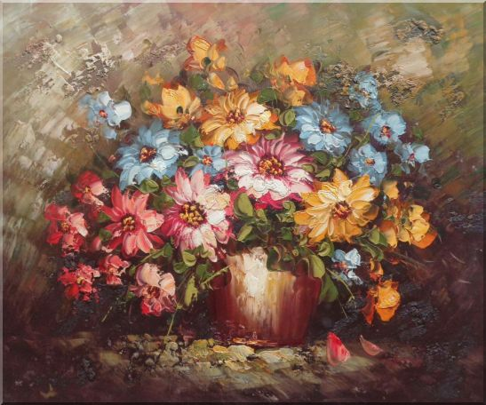 Knife Painted Still Life Standard Mum Flowers Oil Painting Bouquet Impressionism 20 x 24 Inches