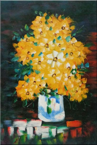 Yellow Daisy Flowers in in Vase Oil Painting Still Life Bouquet Impressionism 36 x 24 Inches