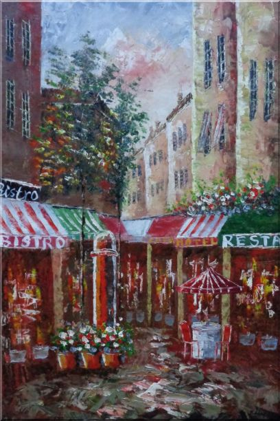 Traditional Paris Street Filled with Cafe and Hotel Oil Painting Cityscape France Impressionism 36 x 24 Inches