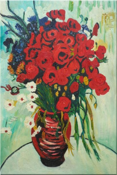 Vase with Daisies and Poppies, Van Gogh Reproduction Oil Painting Flower Still Life Post Impressionism 36 x 24 Inches