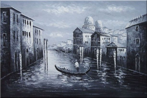 Venice Gondola in Black and White Oil Painting Italy Impressionism 24 x 36 Inches
