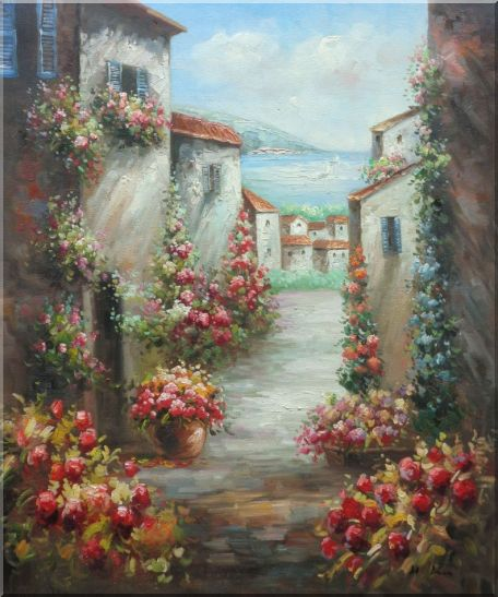Mediterranean Villa Oil Painting Impressionism 24 x 20 Inches