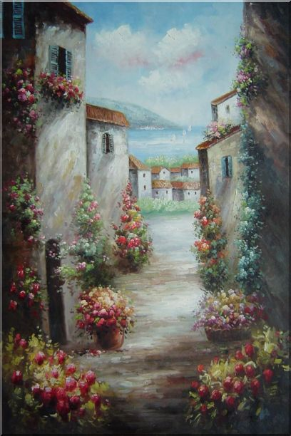 Mediterranean Villa Oil Painting Impressionism 36 x 24 Inches