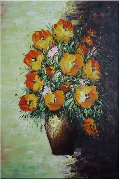 Red and Orange Roses in Vases - 2 Canvas Set 2-canvas-set,flower,still-life,bouquet,rose naturalism  36 x 48 inches