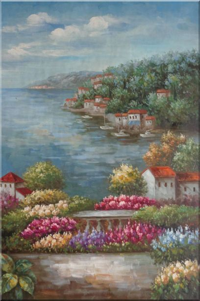 Mediterranean View from a Flower Garden Oil Painting Naturalism 36 x 24 Inches