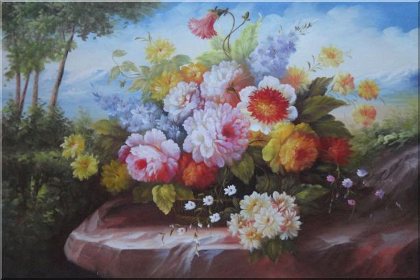 Outdoor Still Life Basket Of Flowers On Rock In A Landscape With Tree and Mountains Oil Painting Bouquet Classic 24 x 36 Inches