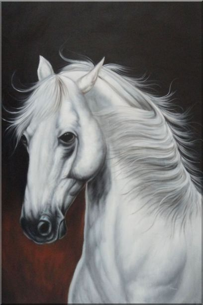 White Horse With Long Manes in Brown Background Oil Painting Animal Naturalism 36 x 24 Inches