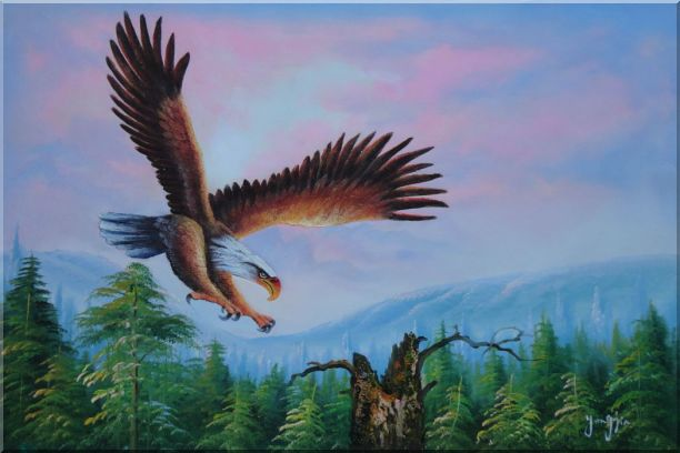 American Eagle, Landscape Scenery Oil Painting Animal Naturalism 24 x 36 Inches