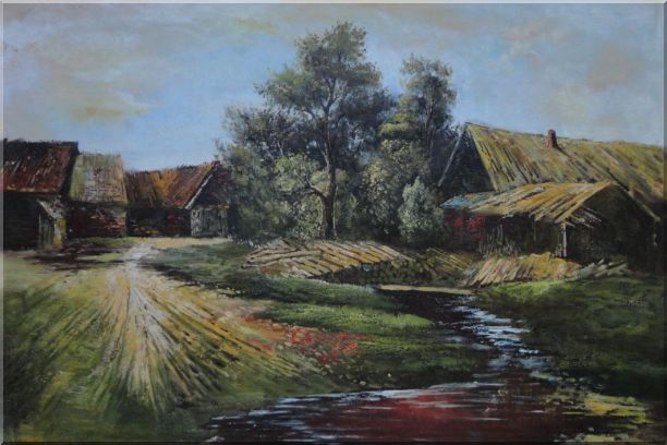 Old Rural Village, Cottage, Pile of Wood, Small Creek Oil Painting Classic 24 x 36 Inches