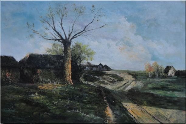 Old Village, Roadside Tree, Rural Path Oil Painting Classic 24 x 36 Inches
