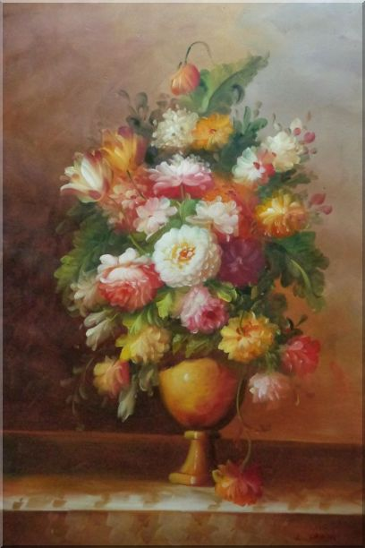 Roses, Tulips, Peony, Marigolds And Other Flowers Oil Painting Still Life Bouquet Classic 36 x 24 Inches