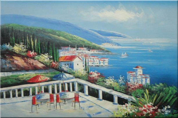 Mediterranean Seashore Coastal Garden Oil Painting Naturalism 24 x 36 Inches