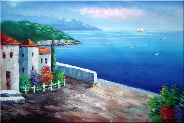 Mediterranean Seashore House Oil Painting Naturalism 24 x 36 Inches