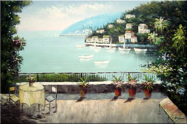 The Quiet Bay Oil Painting Mediterranean Naturalism 24 x 36 Inches