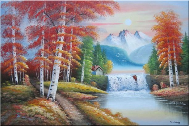 Small Waterfall Scenery in Alaska Colorful Autumn Oil Painting Landscape Naturalism 24 x 36 Inches
