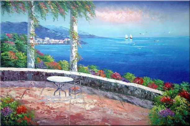 Seashore Scene, Sunshine of Mediterranean Oil Painting Naturalism 24 x 36 Inches