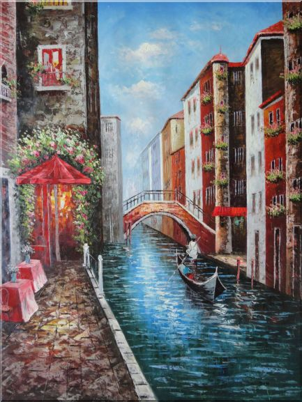 A Lonely Gondolier On Venice Street Oil Painting Italy Impressionism 48 x 36 Inches