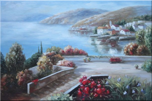 Flower Garden At Mediterranean Coast Oil Painting Naturalism 24 x 36 Inches
