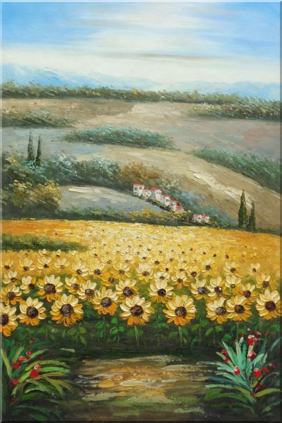 Sunflower Field Scenery Oil Painting Landscape Naturalism 36 x 24 Inches