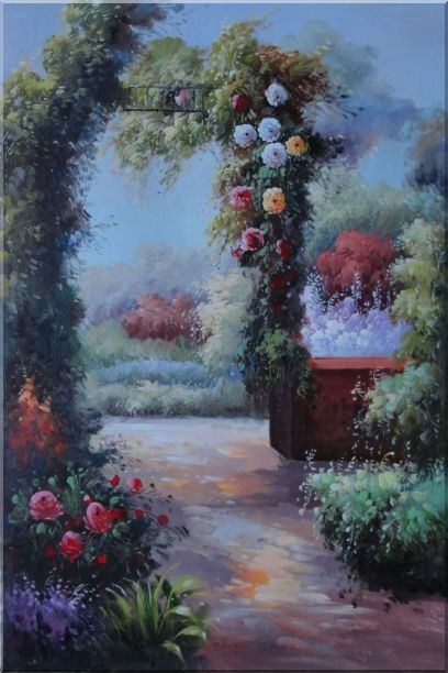 Beautiful Flower Garden Arched Arbor Oil Painting Italy Naturalism 36 x 24 Inches
