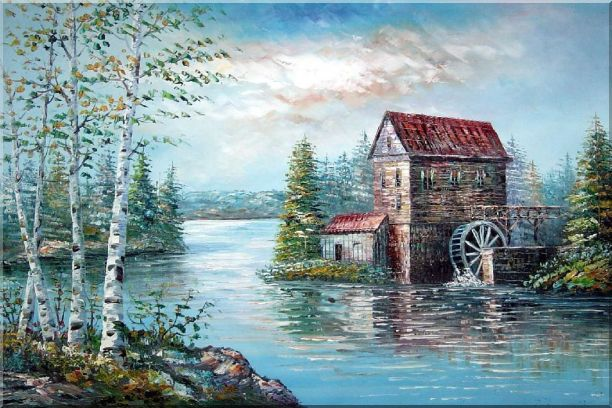 Riverside Waterwheel House in Spring Oil Painting Landscape Naturalism 24 x 36 Inches