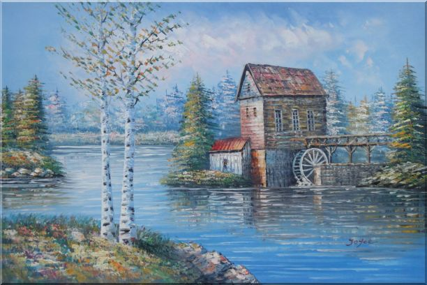 Water Wheel House On River Oil Painting Landscape Autumn Naturalism 24 x 36 Inches