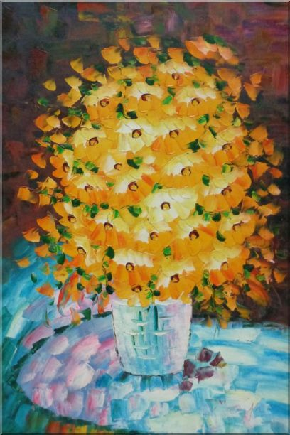 Bouquet of Flowers in a Blue Vase Oil Painting Still Life Classic 36 x 24 Inches